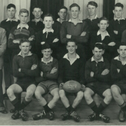 Black and white photograph of the 1953 Rangiora under 18's Rugby team, including Max Luisetti