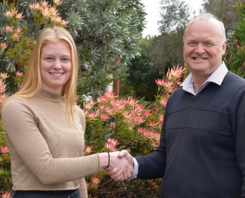 Lincoln University Professor, Dr Derrick Moot congratulates Jessica on winning the Luisetti Seeds Plant Production Systems Award.