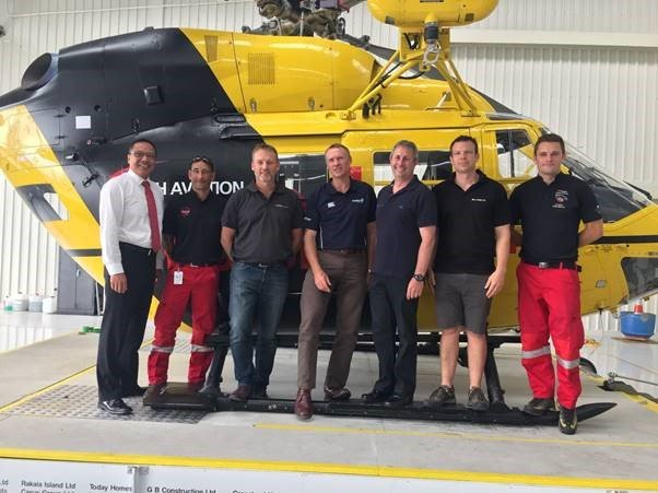 NZGTA Gladiators – George Gerard, Callum Davidson, Steve Pugh and Mark Frampton, STANDING IN FRONT OF RESCUE HELICOPTER
