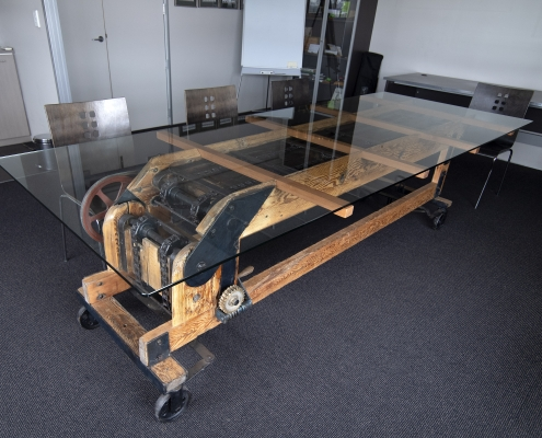 Boardroom table, built using the old elevator