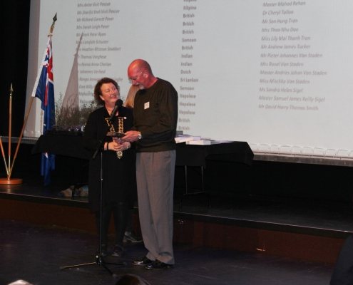 Scott Ammerman with Ashburton Mayor Donna Faval at his Citizenship ceremony.