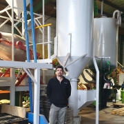 Chris Tyson at newly refurbished seed treating and mixing plant