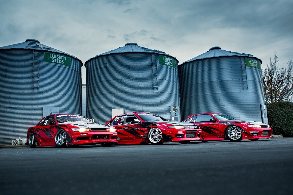 The 732 Drift Team in front of Luisetti Seed Silos.