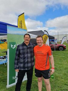 """Willie Apiata VC with Mark Frampton, Luisetti Seeds, Operations Manager and member of the New Zealand Grain and Feed Trade Association """"Gladiators"""" Air Rescue Challenge team."""