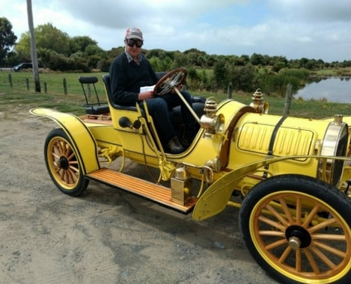 Vincent Luisetti at the wheel of a 1907 Spyker believed to be the New Zealand Grain & Seed Trade's first company car.